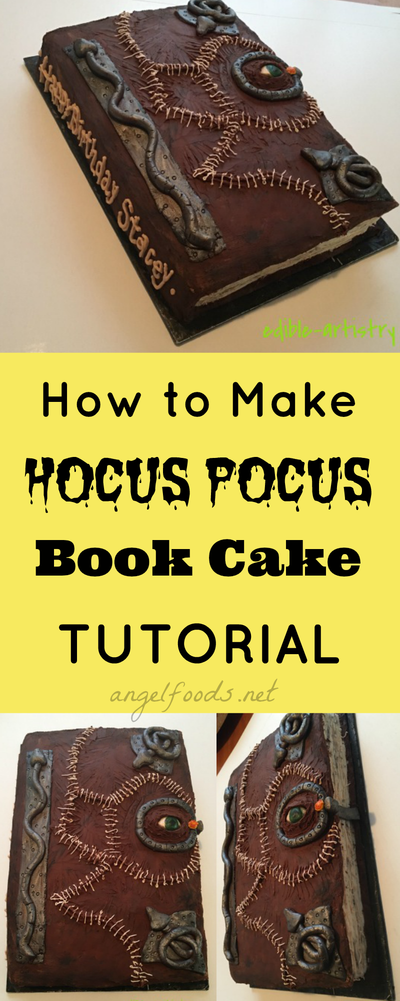 How To Decorate Hocus Pocus Book Cake Tutorial An Easy Cake Decorating Tutorial On How To Create Your Own Hocus Pocus Spell Book Replica In Cake You Can
