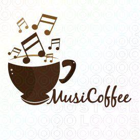 Music Coffee Logo Com Imagens