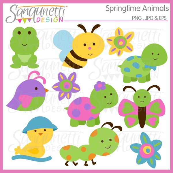 Springtime Animals Clipart Includes Turtles Bird Bee Ant Frog And More Simple And Modern Illustration Cute Animal Clipart Animal Clipart Clip Art