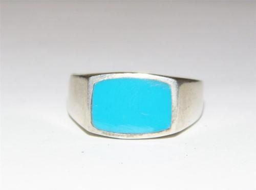 sterling silver rectangle turquoise style ring Size:10 JA13  Current bid:    US $15.00
