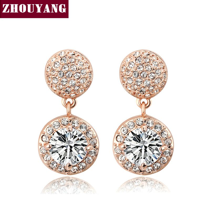 ZHOUYANG Top Quality Cubic Zirconia Rose Gold Color Fashion Stud