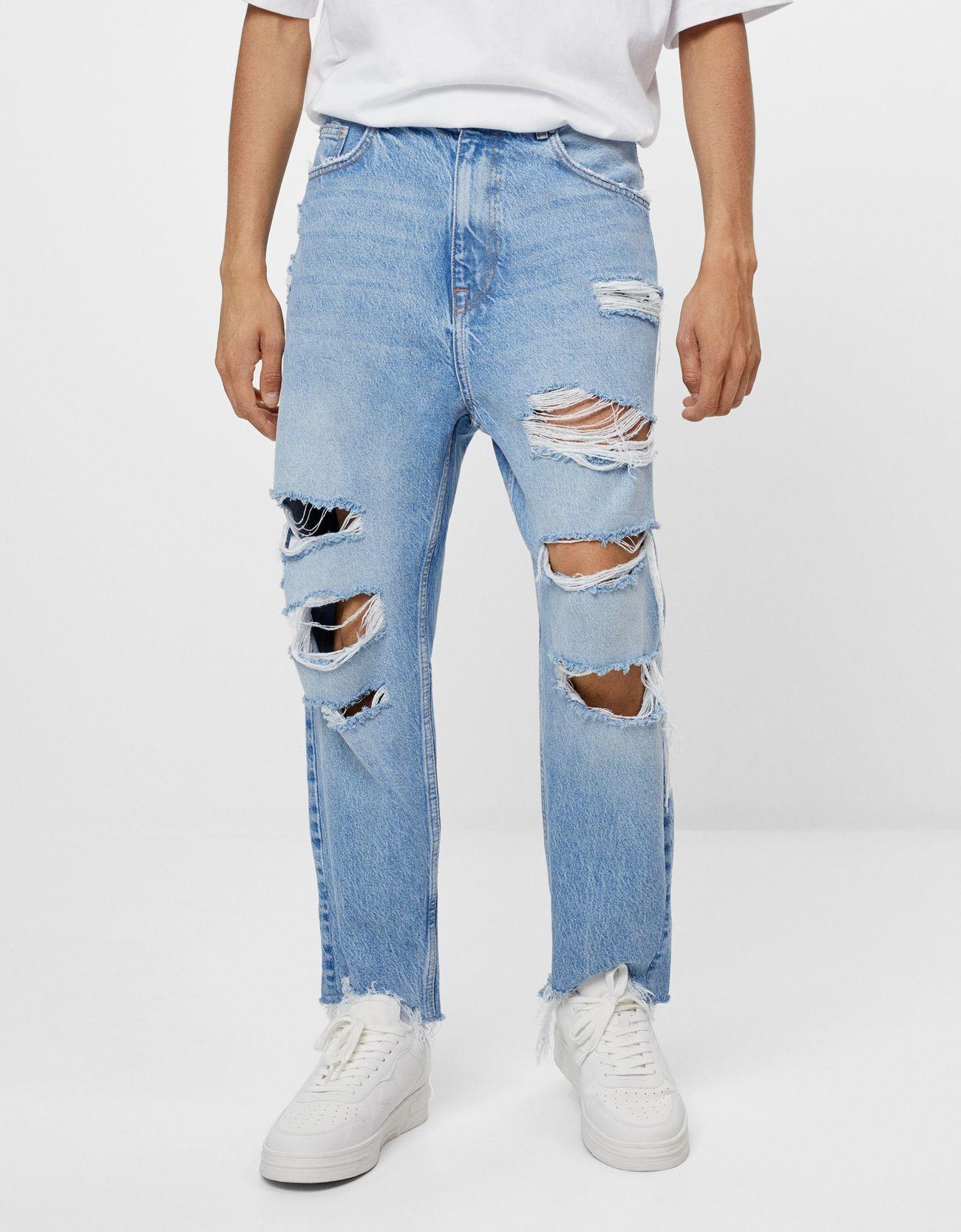 Jeans Loose Rotos Denim Hombre Bershka Jeans Hombre Rotos Chalecos De Moda Hombre Pantalon Roto Hombre