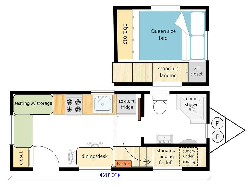 Mitchcraft Tiny Homes 20ft Tiny House Floor Plans Loft Floor Plans Floor Plans