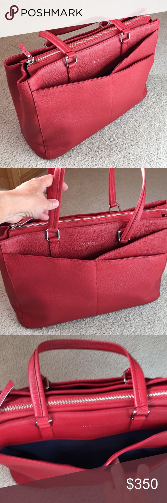 12185af8465 NWT COLE HAAN Large Red Tote/American Airline RARE When American Airline  merged with US