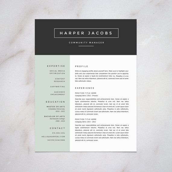 Professional Resume Template Bundle Cover Letter Cv: Professional Resume Template And Cover Letter Template For