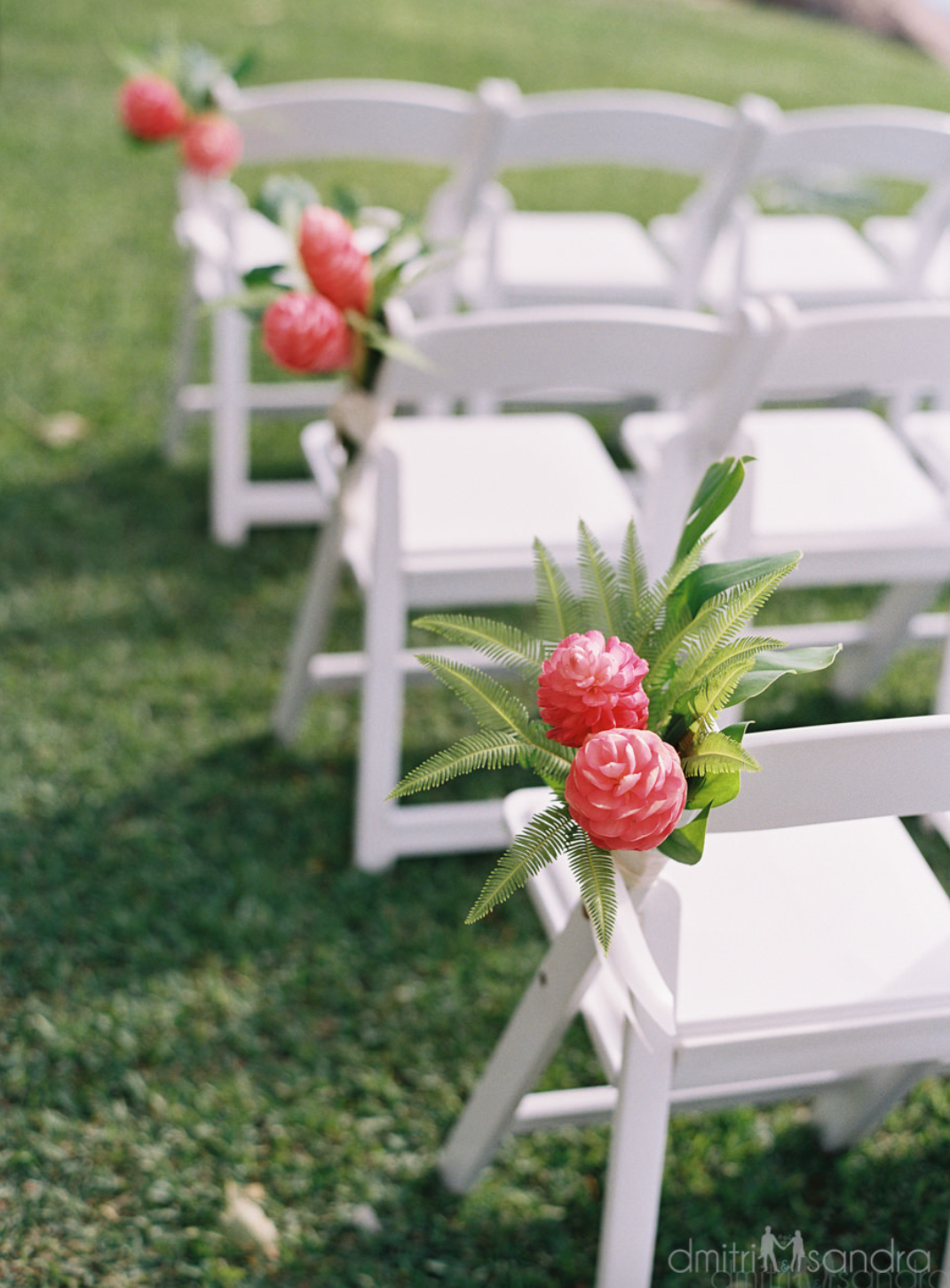 Pink Ginger & Tropical Greenery Chair Decor Flower
