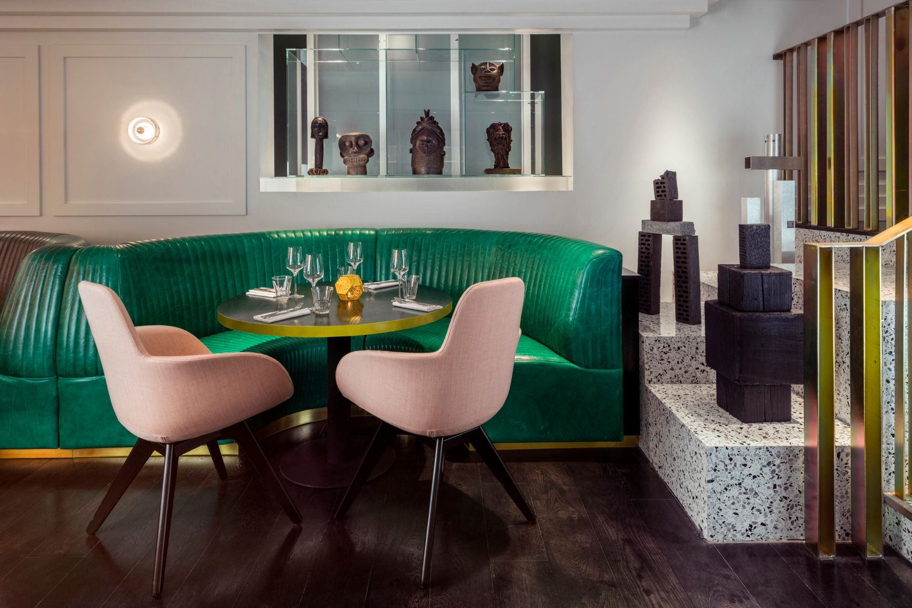 Commercial Dining Room Furniture Endearing Tom Dixon Bronte Restaurant In London Featuring Stone Wall Lights Decorating Inspiration
