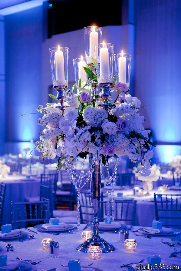 Beautiful ice blue and frost white wedding winter wedding for Winter themed wedding centerpieces