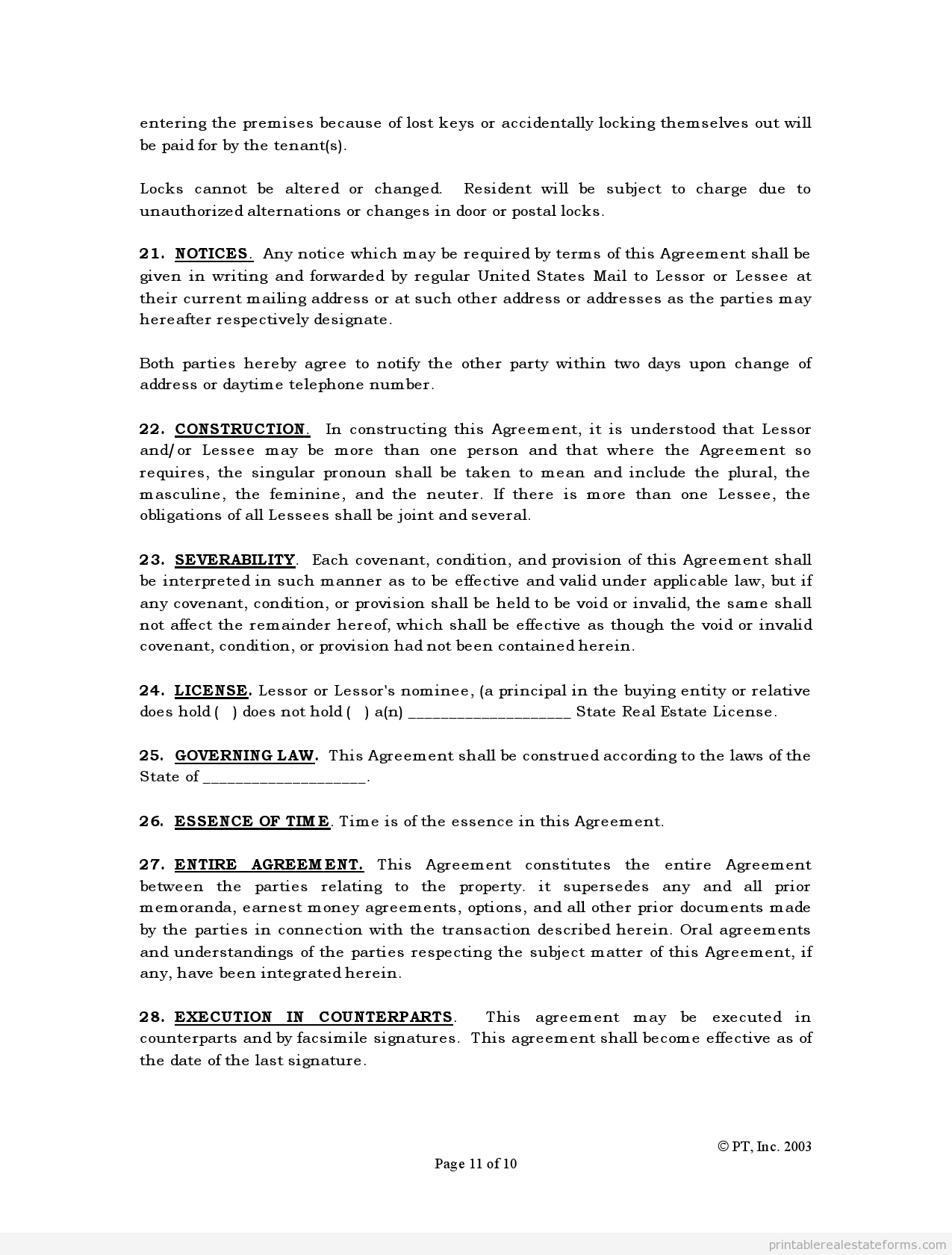 Free Printable Standard Lease Agreement Form  Printable Real