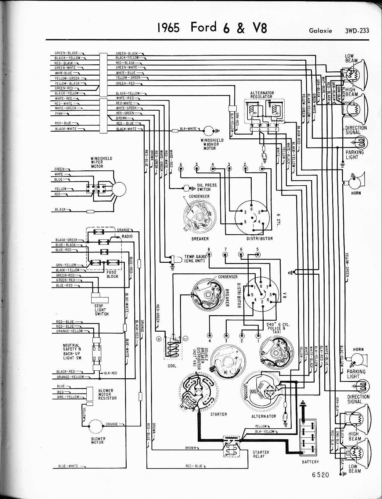 Free Wiring Diagrams Automotive Ford Galaxie 1965 6 V8 Color Guide Right