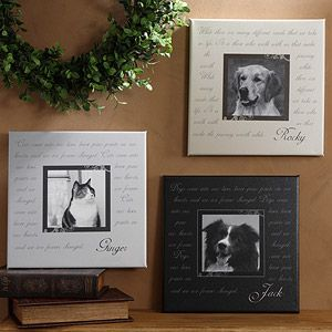 Photo Pet Memorial Canvas Wall Art Paw Prints On Our Hearts