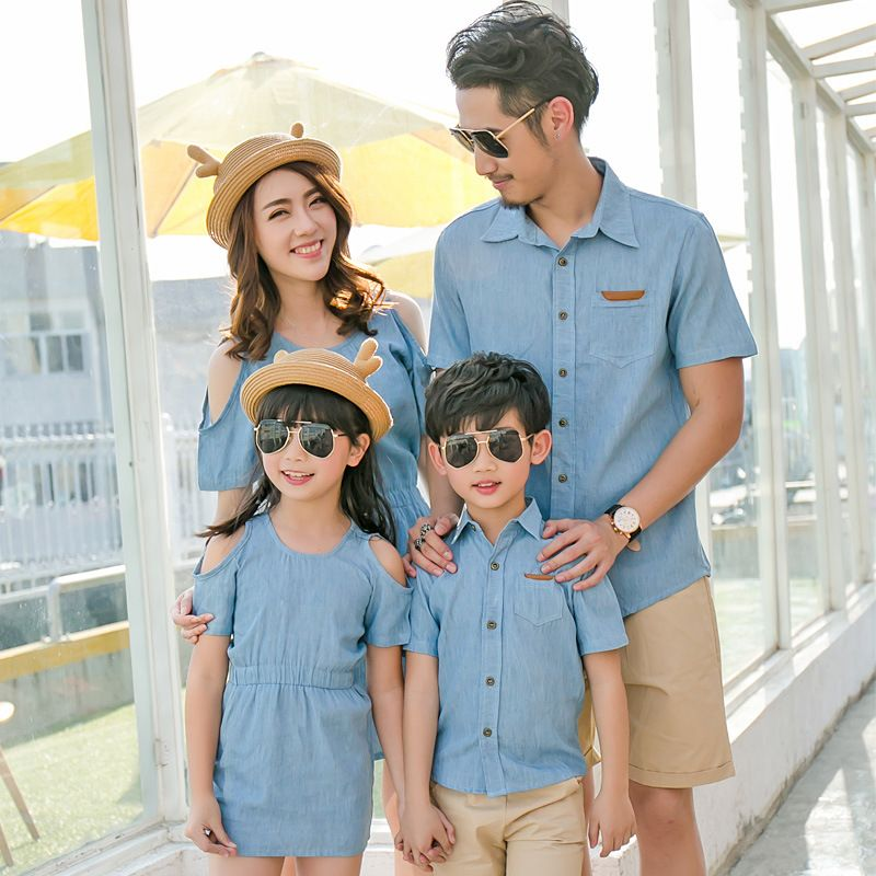 4df3b74593 famli 1pc father son shirt mother daughter dress summer family baby girl  boy matching casual short solid cotton dress outfits