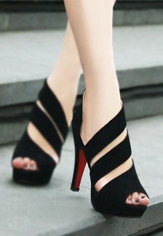 Cute Strip Cutout Peep-toe High-heeled Shoes from lilystyle
