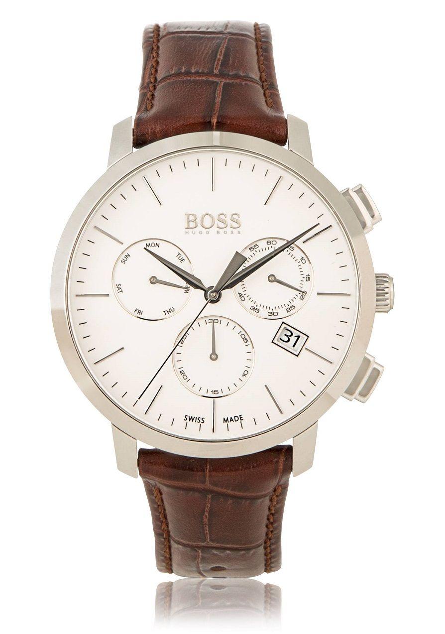 d38f5ecc97f Hugo Boss Chronograph Italian Leather Swiss Quartz Watch