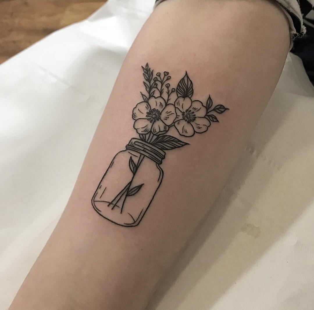 mel gracie floral jar tattoo Tattoos, Geometric tattoo