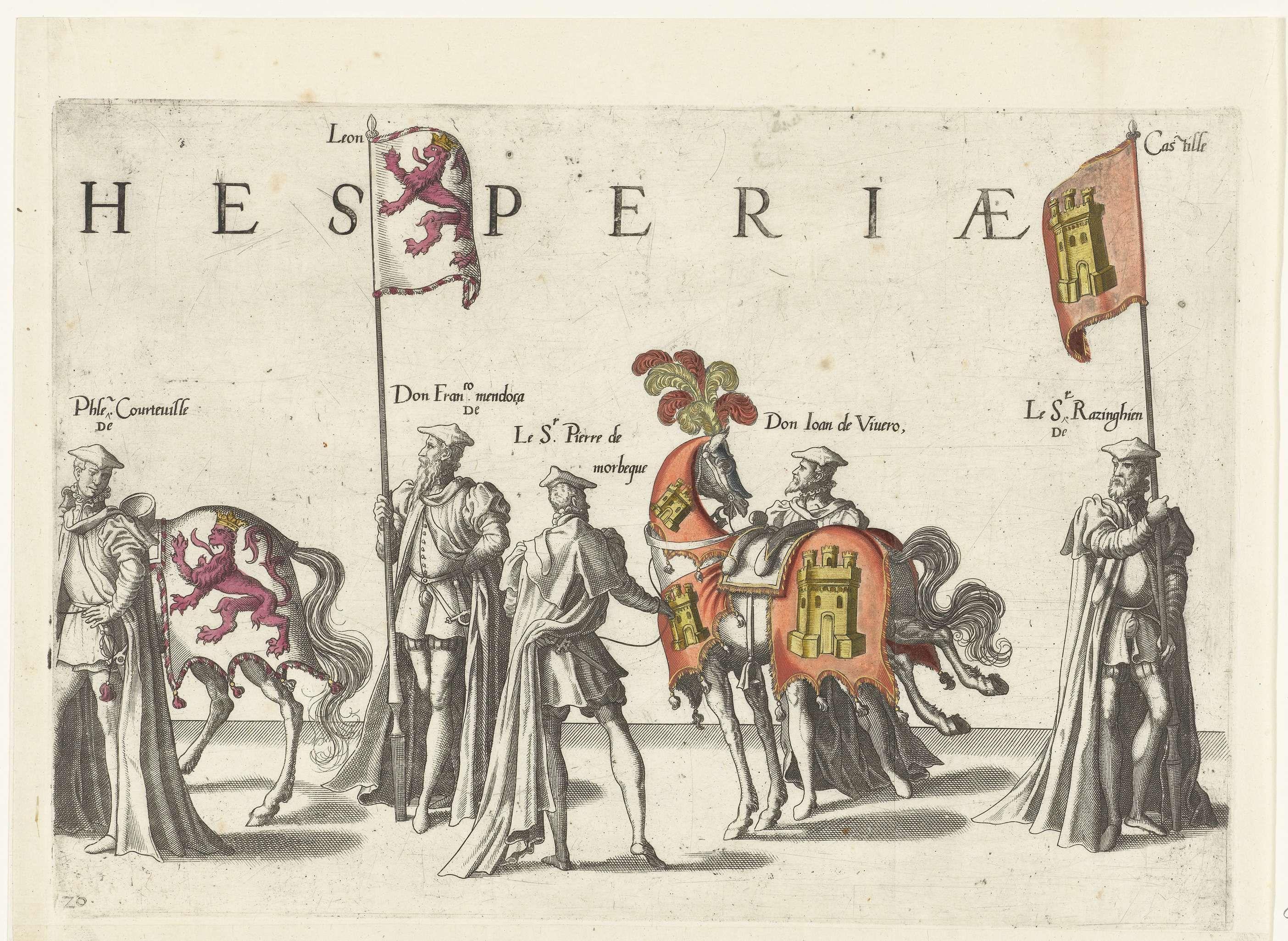Deel van de optocht, nr. 20, Joannes van Doetechum (I), Lucas van Doetechum, Hieronymus Cock, 1559  Masters Hood over the shoulder
