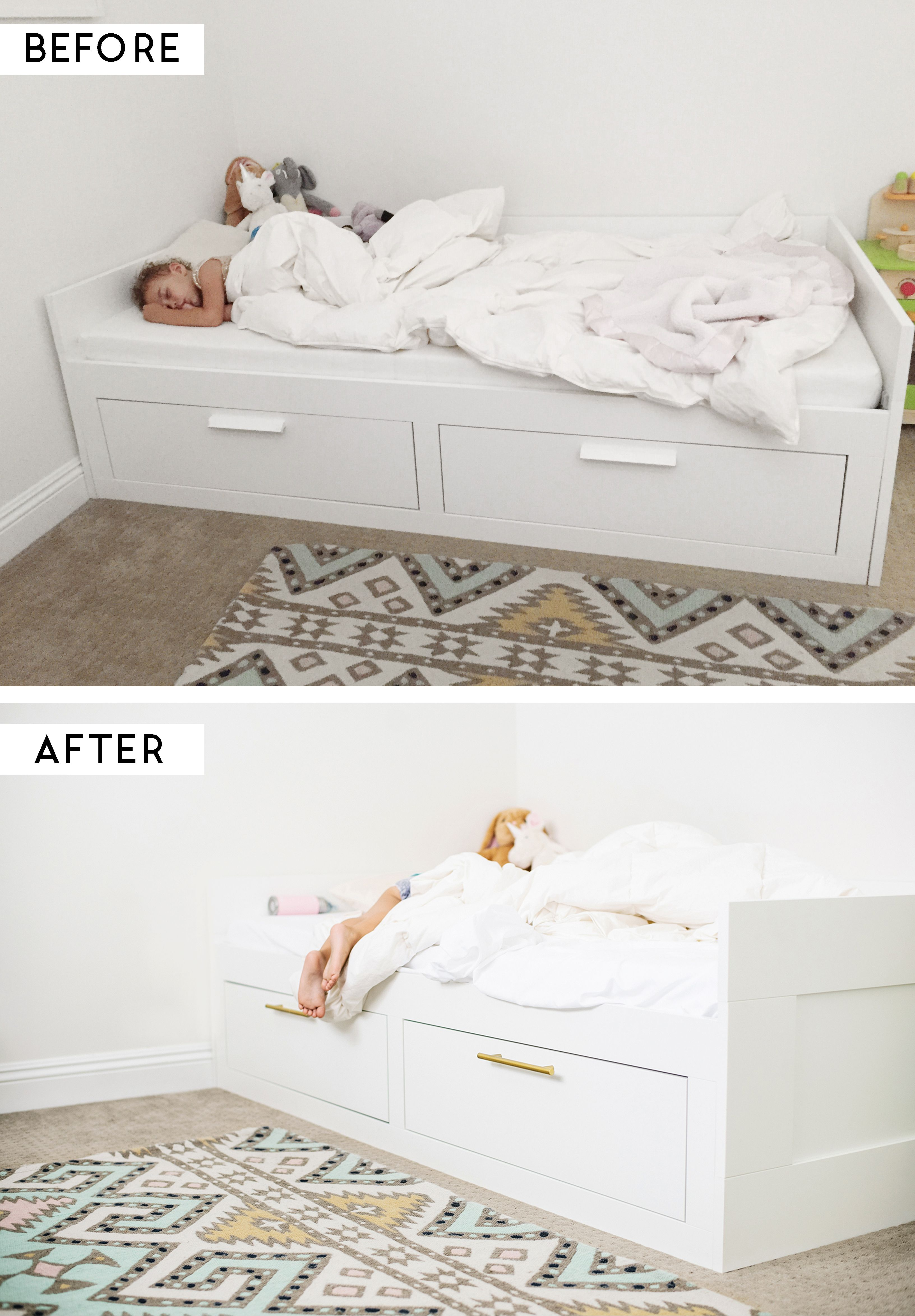 ikea hack adding brass pulls to the brimnes bed - Brimnes Bed Frame