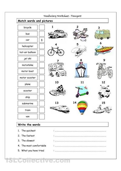vocabulary matching worksheet transport engels pinterest worksheets english classroom. Black Bedroom Furniture Sets. Home Design Ideas