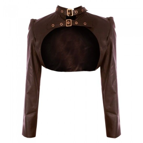 Brown PVC Steampunk Buckle Strap Bolero ❤ liked on Polyvore ...