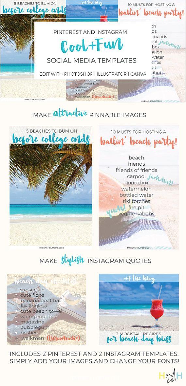 Cool And Fun Social Media Templates  Blog Graphics