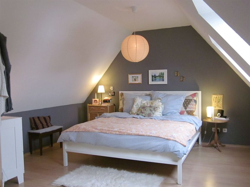 Decorating Attic Rooms bedroom:incredible small attic bedroom design with grey wall paint