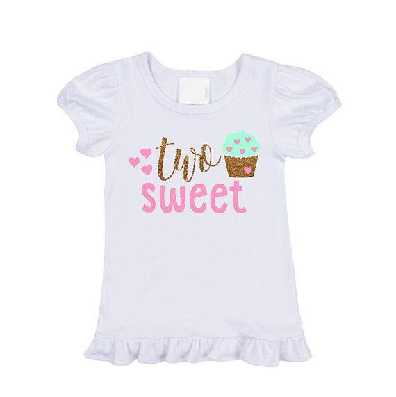 Two Sweet Birthday Shirt Cupcake 2nd Year Old