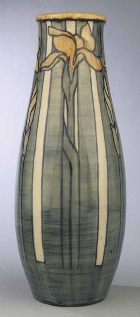 Large and Rare Newcomb College Art Pottery High Glaze Vase , 1903, decorated by Marie De Hoa LeBlanc