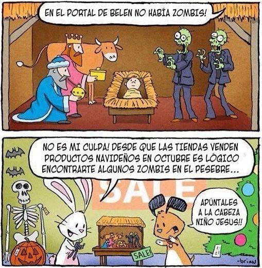 Esto Es Lo Que Pasa Por Adelantar Tanto Los Productos Navidenos En Las Tiendas Funny Christmas Pictures Zombie Humor Christmas Humor