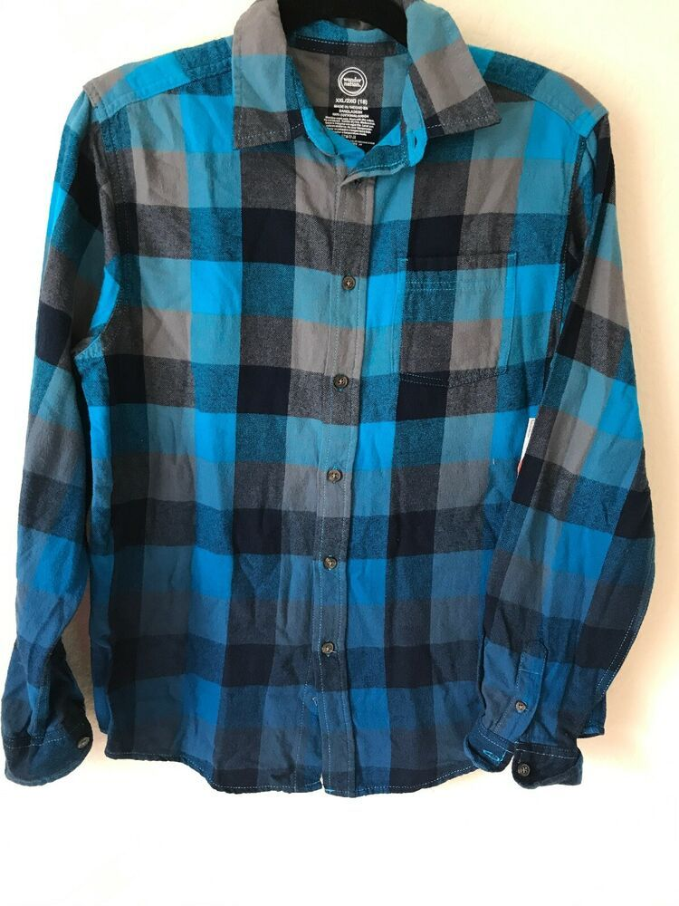 a023b7a31 Wonder Nation Long Sleeve Flannel Plaid Shirt Sz 18 XXL #fashion #clothing  #shoes