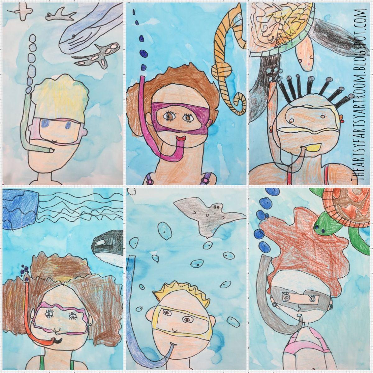 2nd Grade Underwater Self-Portraits (2015)   3rd grade art ...