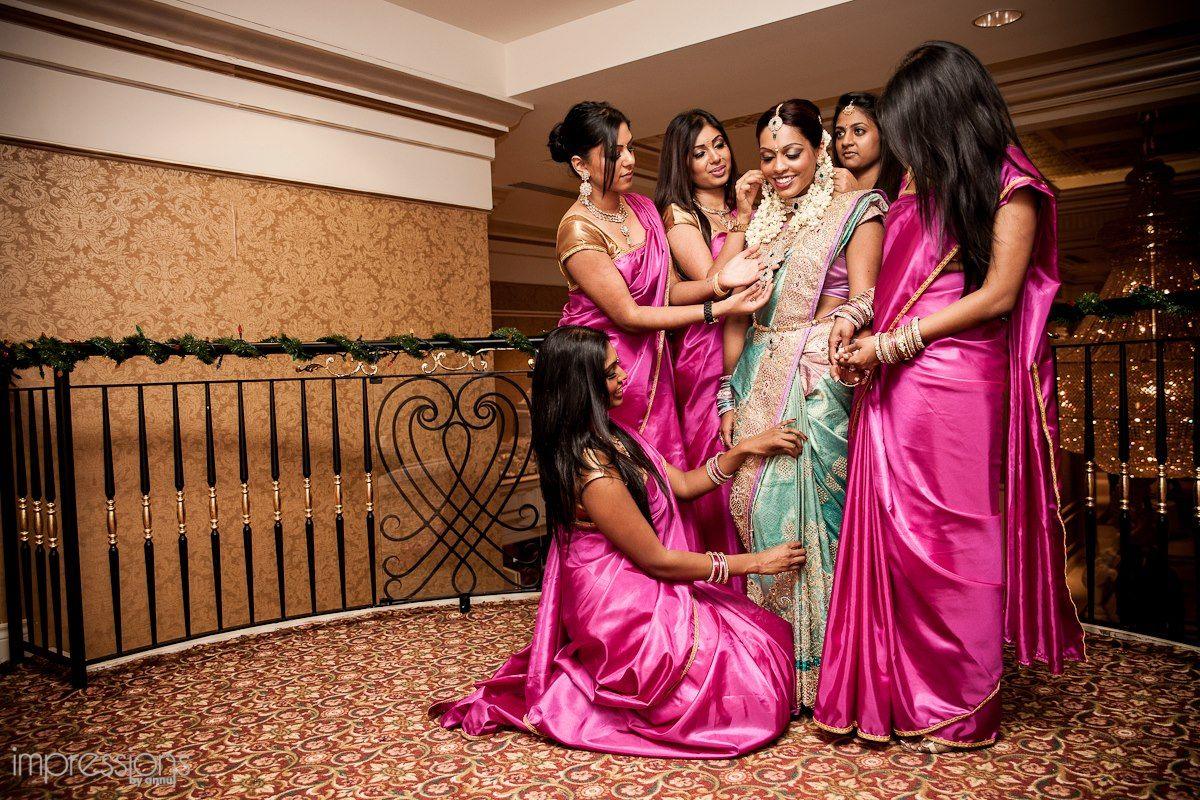 Bridesmaids in pink silk sarees south asian wedding party bridesmaids in pink silk sarees ombrellifo Gallery