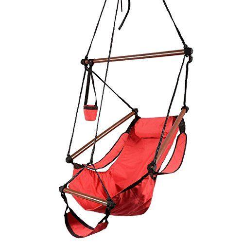 Hammock Hanging Chair OutdoorAir Deluxe Sky Swing Chair Solid Wood 250lb  Blue U003eu003eu003e *
