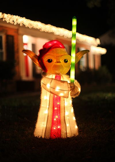 Star wars themed christmas tree diy ideas from 7th house on the a light up yoda for your yard for the home depot style challenge and ashley and greg brown of 7th house on the left mozeypictures Gallery