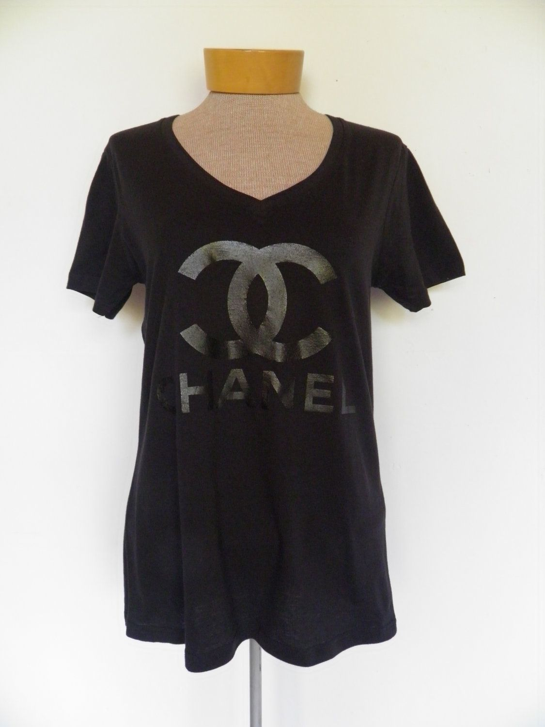 Black t shirt dress etsy - Black On Black Vinyl Chanel Logo V Neck T Shirt 26 00 Via Etsy