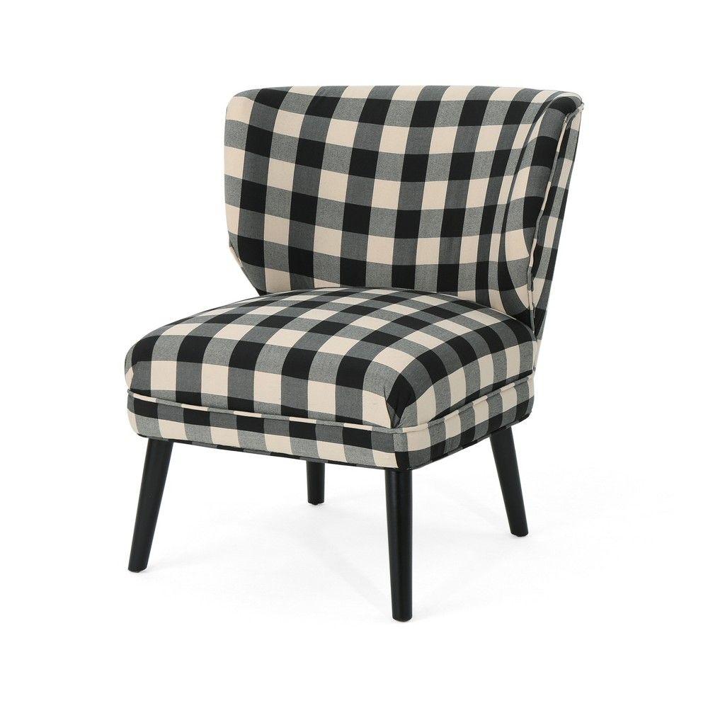 Best Laurier Modern Farmhouse Accent Chair Black Checkerboard 400 x 300