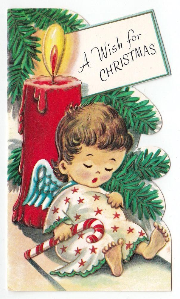 UNUSED Vintage Greeting Card Christmas Die-Cut Sleeping Tiny Angel Candle