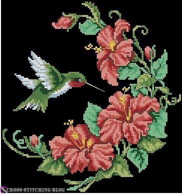 free cross stitch hummingbird afghan   types full stitch back stitch colors 17 size 119x127 stitches