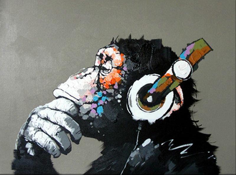 Diy Wandbild Abstrakter Affe Mit Kopfhorern Abstrakt Affe