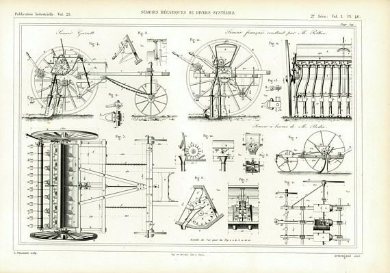 1874 Treshing machine Large Antique Print  Agriculture Farming Tools
