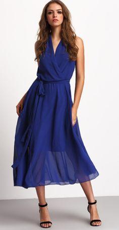 Gorgeous summer chiffon dress for women-Blue Deep V Neck Sleeveless Tie Waist Dress. Perfect eye-catching dress for beach travel ! Love!