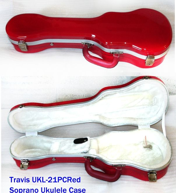 Travis Ukl 21pc Rd Powerhouse Red Soprano Ukulele Case Beauty