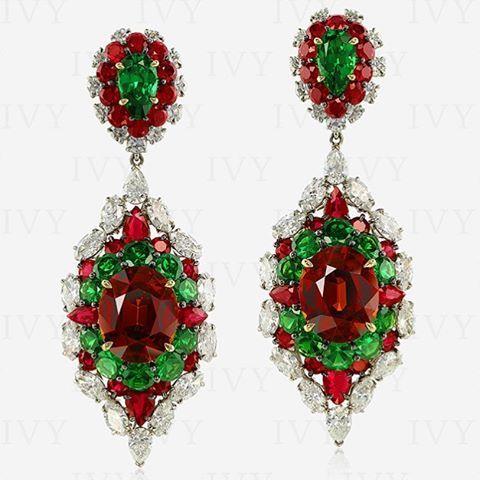 Kaleidoscopic Earrings, #tsavorite #ruby #spessartite #diamonds #ivy www.ivynewyork.com