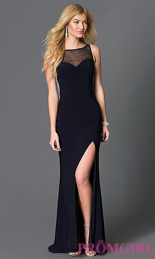 Blondie Nites Long Sleeveless Navy Blue Prom Dress at PromGirl.com ...