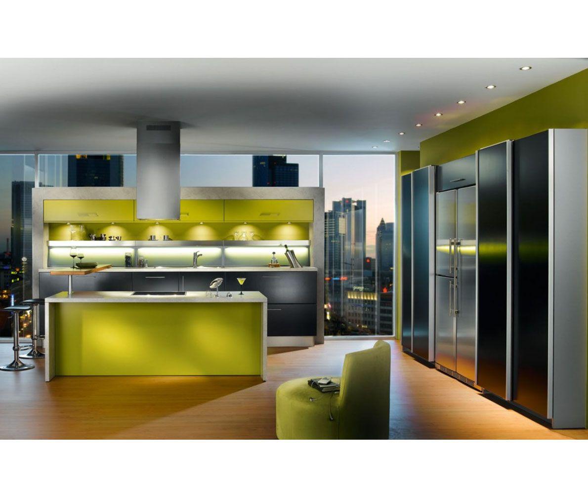 Green And Yellow Kitchen Ideas: Yellow Kitchen Decoration Green Apartment