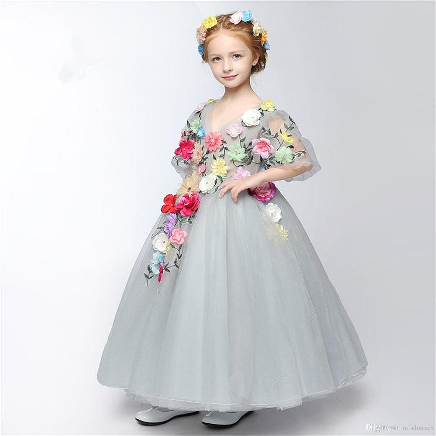 38deb84a3f Cute Beautiful Grey Cinderella Princess Dresses Tiers Tulle Flower Girls  Dresses 2017 Fairy Toddler Full Length