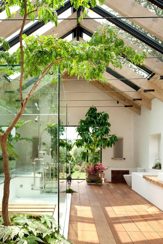 salle de bain ou serre tropicale la grande douche vitr e l 39 italienne au milieu des plantes. Black Bedroom Furniture Sets. Home Design Ideas