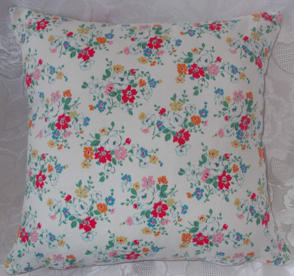 New handmade cath kidston white clifton rose on both sides cushion
