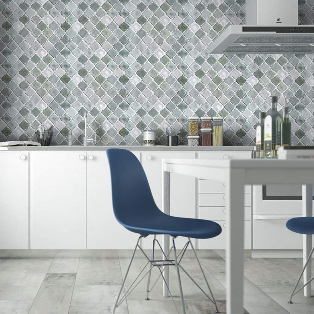 Amazon Com Peel And Stick Tile Backsplash Gray Arabesque Tile Backsplash Mosaic Backspla Decorative Wall Tiles Stick Tile Backsplash Arabesque Tile Backsplash