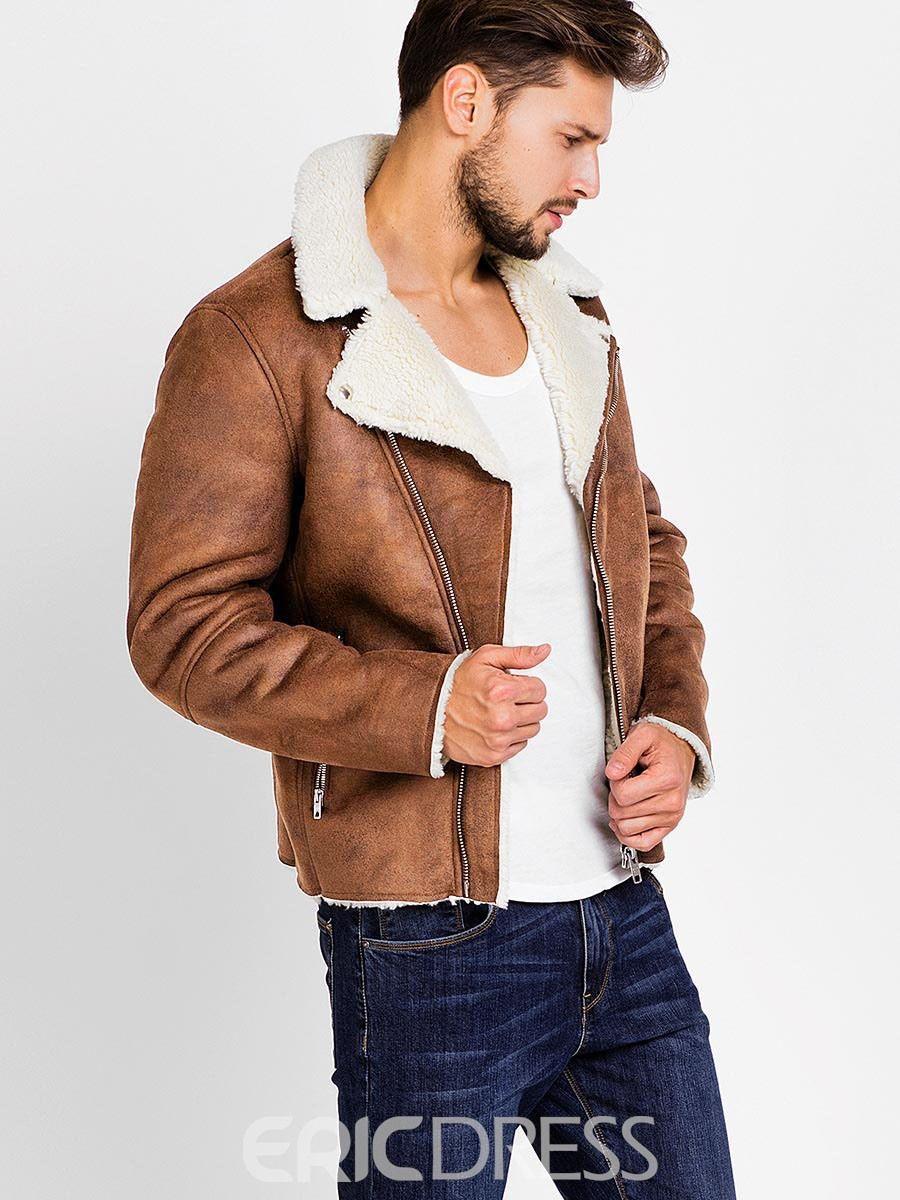 Ericdress Lapel PU Zip Faux Shearling Warm Vogue Men's