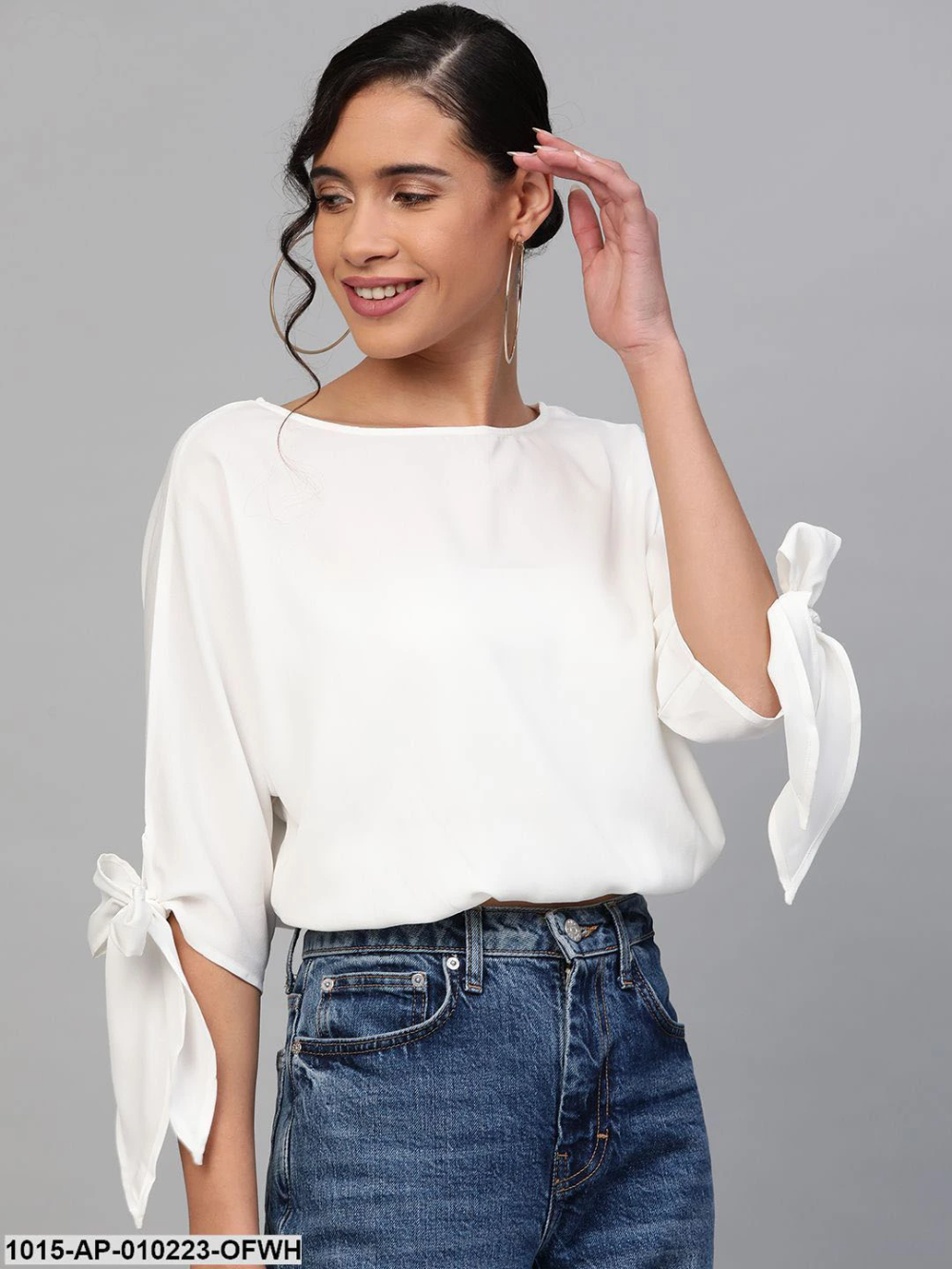 Off-White Sleeve Tie-Up Crop Top - AleyaCollections